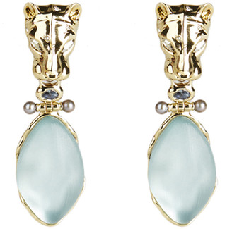 Alexis Bittar Panther Head Hinged Drop Clip Earring