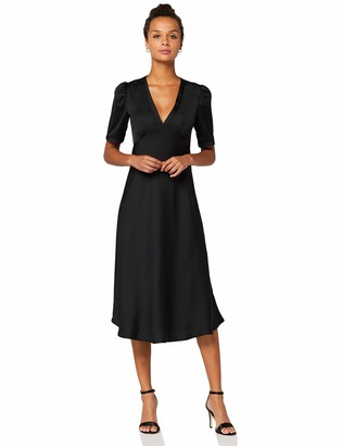 Amazon Brand - TRUTH & FABLE Women's Midi Chiffon A-Line Dress