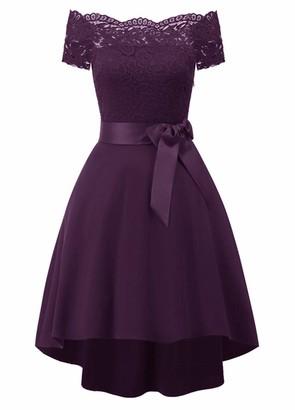 BAIHUODRESS Women Lace Scallop Bardot Dip Hem Vintage Pinup Elegant Dress