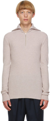Jil Sander Beige Wool Half-Zip Sweater