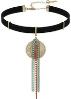 Steve Madden Textured Disc Green/Red Bead Fringe Suede Choker Necklace