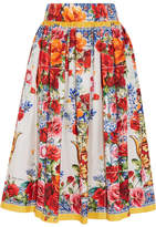 Dolce & Gabbana Floral-print Silk-twill Midi Skirt - Red