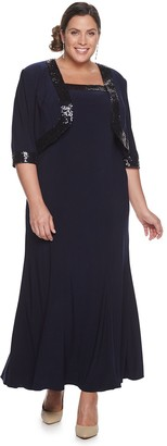 Le Bos Plus Size Long Sequin Dress & Capelet Set