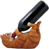 Decorative Tabby Kitty Cat Wine Bottle Holder Sculpture for Whimsical Tabletop Wine Racks and Stands or Animal Statues & Kitten Figurines As Birthday Gifts for Cat Lovers by Home-n-Gifts