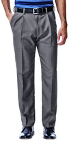 Haggar Cool 18 Heather Solid Pants - Classic Fit, Pleated Front, Hidden Expandable Waistband