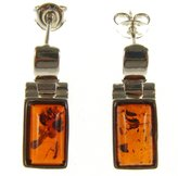 Cozmos Earrings BALTIC AMBER AND STERLING SILVER 925 DESIGNER COGNAC EARRINGS JEWELLERY JEWELRY