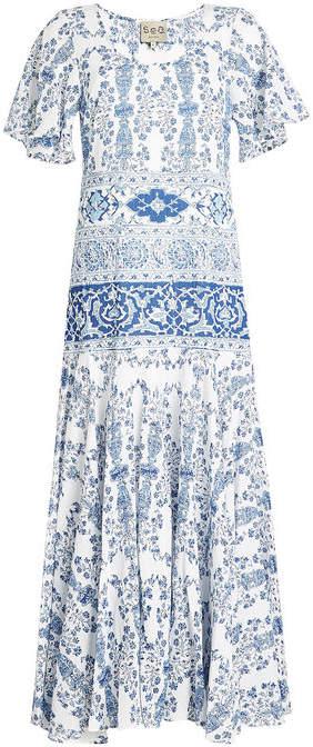 Sea Printed Cotton Maxi Dress