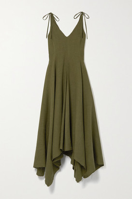 Fil De Vie Net Sustain Tangier Slub Linen Dress - Army green