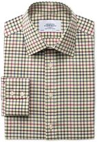 Charles Tyrwhitt Classic Fit Country Check Pink and Green Cotton Dress Casual Shirt Single Cuff Size 18/35