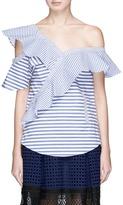 Self-Portrait Asymmetric frill stripe one-shoulder top