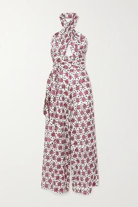 SEREN Wrap-effect Floral-print Silk-satin Jumpsuit - Pink
