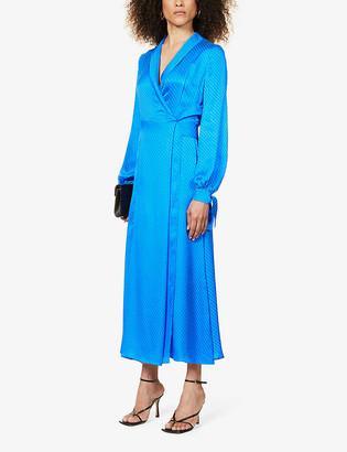 Galvan Cabana jacquard-pattern wrap silk-crepe midi dress