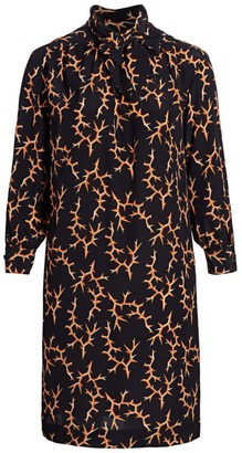 Baacal, Plus Size Thorn-Print Scarf-Neck Silk Dress