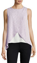 Casual Couture by Green Envelope Knit Mock-Wrap Top
