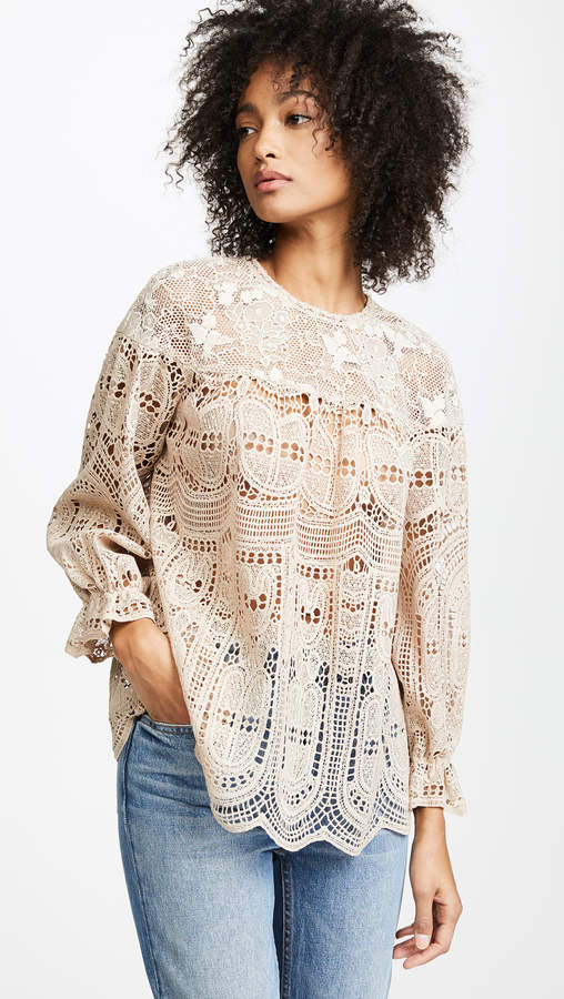 Anna Sui Cupid's Clouds & Scallop Lace Top