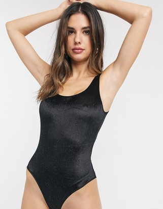 Monki glitter rib scoop neck body in black