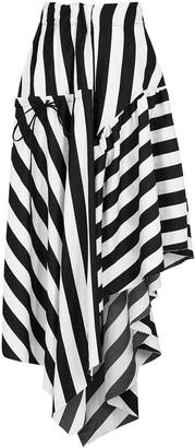Marques Almeida Monochrome Striped Cotton Midi Skirt