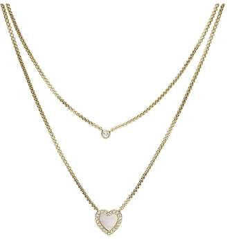 Fossil Vintage Glitz Gold and Mother of Pearl Heart Ladies Necklace
