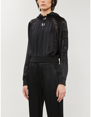 The Kooples Sport Lace-insert embroidered satin hoody