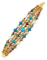 Jose & Maria Barrera Pearly Beaded Chain Bracelet, Teal