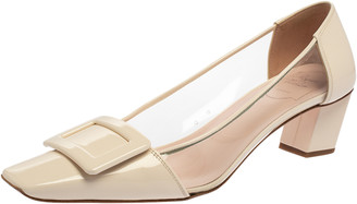 Roger Vivier White PVC And Patent Leather Square Toe Pumps Size 39