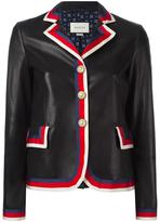 Gucci Sylvie web trim leather jacket - women - Silk/Cotton/Lamb Skin/Viscose - 42