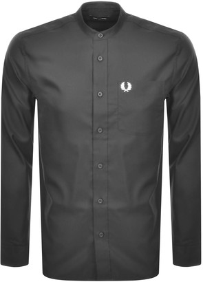 Fred Perry Long Sleeved Grandad Collar Shirt Grey