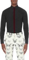 Alexander McQueen Slim-fit velvet trim cotton-poplin shirt