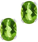 Gem Stone King 2.00 Ct Oval Checkerboard Shape Peridot Silver Plated Brass Stud Earrings