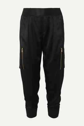 ATM Anthony Thomas Melillo Silk-satin Tapered Track Pants - Black