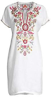 Johnny Was Women's Hulda Floral-Embroidered Linen Tunic Dress