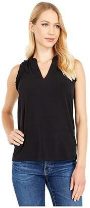 MICHAEL Michael Kors Ruffle Neck Tank (Black) Women's Clothing