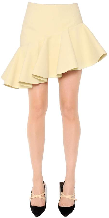 Jacquemus Asymmetric Ruffled Crepe Mini Skirt