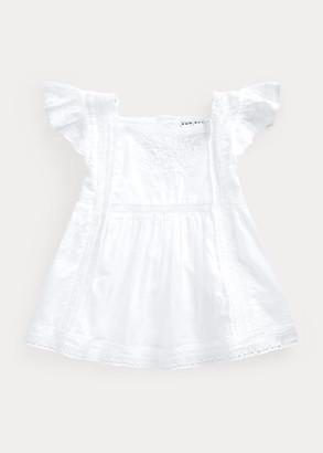 Ralph Lauren Lace-Trim Cotton Voile Top