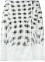 Victoria Beckham Denim wrap-style perforated skirt