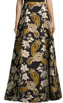 Alice + Olivia Paisley Embroidered Ball Skirt, Black/Gold
