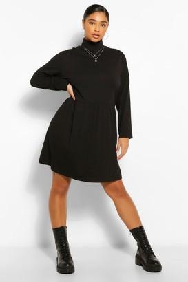 boohoo Plus Roll Neck Long Sleeve Smock Dress