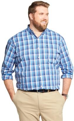 Izod Big & Tall Sportswear Premium Essentials Classic-Fit Plaid Stretch Button-Down Shirt