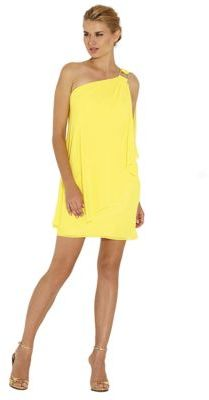 Laundry by Shelli Segal Chiffon One Shoulder Cape Cocktail Dress