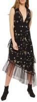 Topshop Star Print Asymmetrical Midi Dress