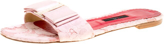 Carolina Herrera Pink Lace Bow Detail Flat Slides Size 39
