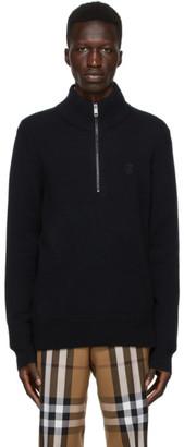 Burberry Black Cashmere Monogram Zip-Up Sweater