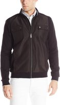 Calvin Klein Men's Ponte with Rib Detail and Tipping Zip-Front Sweatshirt