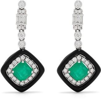 Monan 18kt White Gold Diamond Emerald Drop Earrings