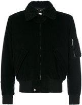 Saint Laurent classic corduroy bomber jacket - women - Silk/Cotton/Lamb Skin/Lamb Fur - 38