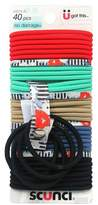 Scunci 4mm No Damage Solid and Flat Floral Print Elastics with Printed Elastic Holder - 40pk