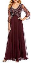 J Kara 3/4 Sleeve Beaded V-Neck Gown