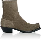 Vetements Men's Oversized-Ring Suede Side-Zip Boots-GREY
