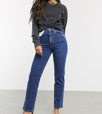 ASOS DESIGN Tall High rise stretch 'slim' straight leg jeans in mid vintage wash