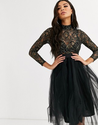 Rare London sequin & tulle party dress-Black